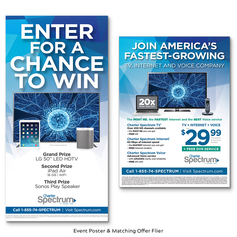 Charter Cable Event Poster and Matching Offer Flier
