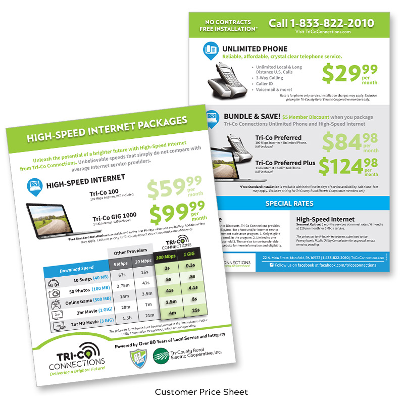 Tri-Co Connections Customer Price Sheet